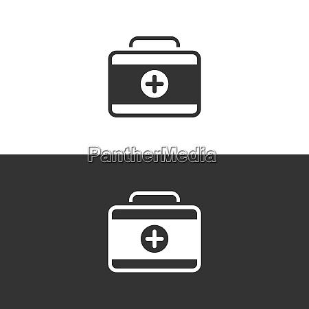 medicine briefcase icon on black and