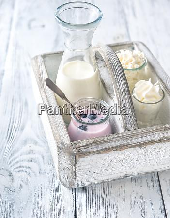 sortiment von milchprodukten