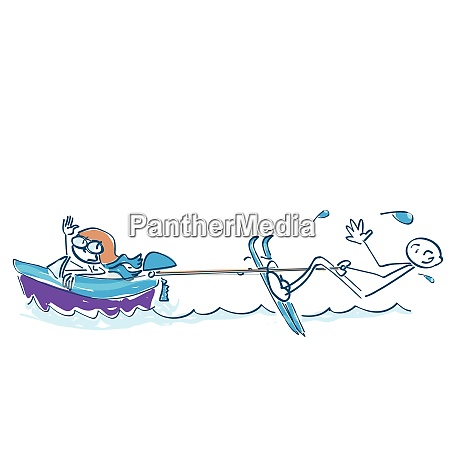 stick figures riding water skiing