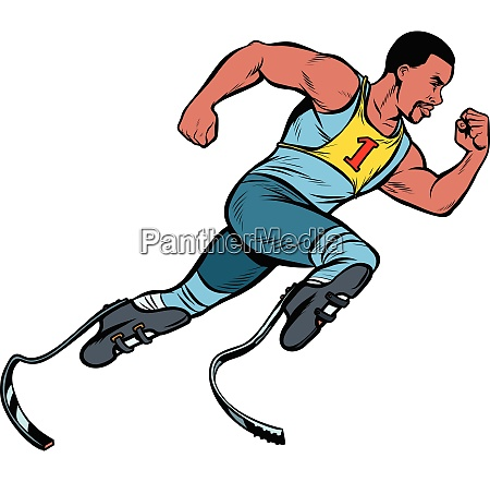 disabled african runner with leg prostheses