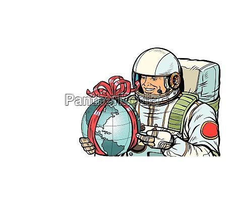 earth day konzept astronaut mit einem