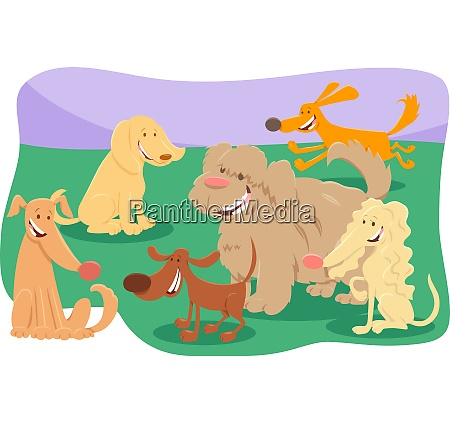 dogs and puppies cartoon characters group