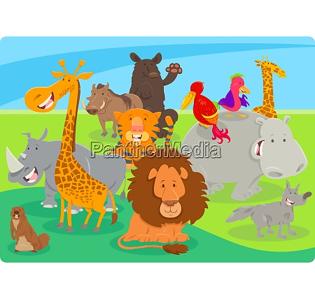 happy animal cartoon characters group