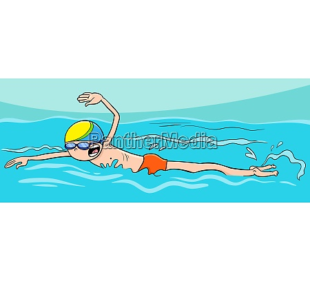 cartoon boy character swimming in the
