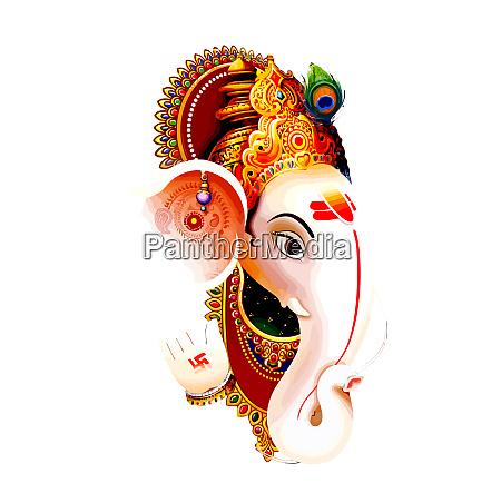 white head ganesha hindu lord faith