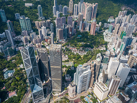 aerial view of hong kong urban