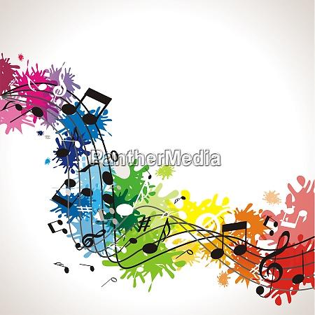 musikhintergrund mit bunten noten
