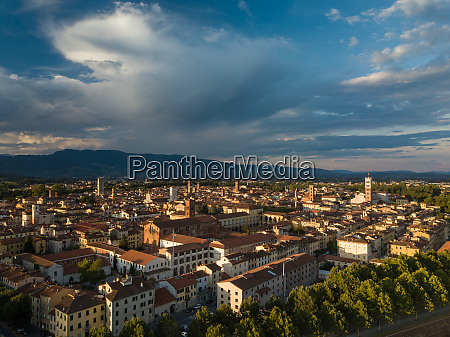 aerial view of lucca tuscany italy