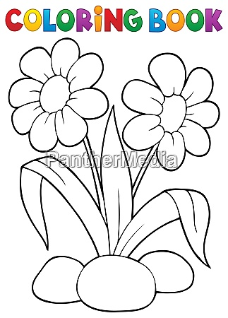 coloring book spring flower topic 1