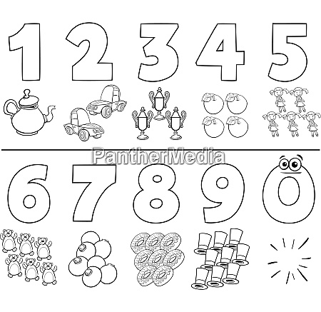 cartoon numbers set coloring book
