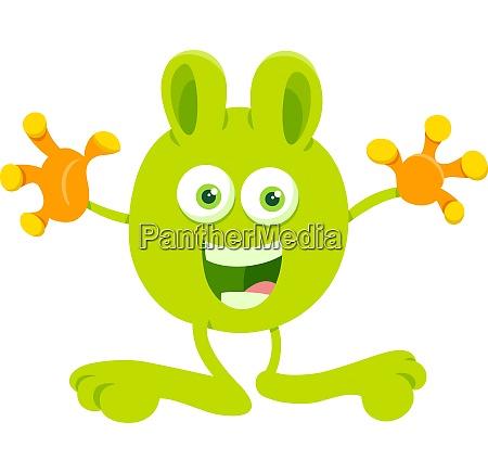 cute green fantasy cartoon character