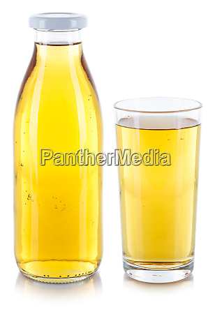 apfelsaftgetraenk in einer flasche und glas
