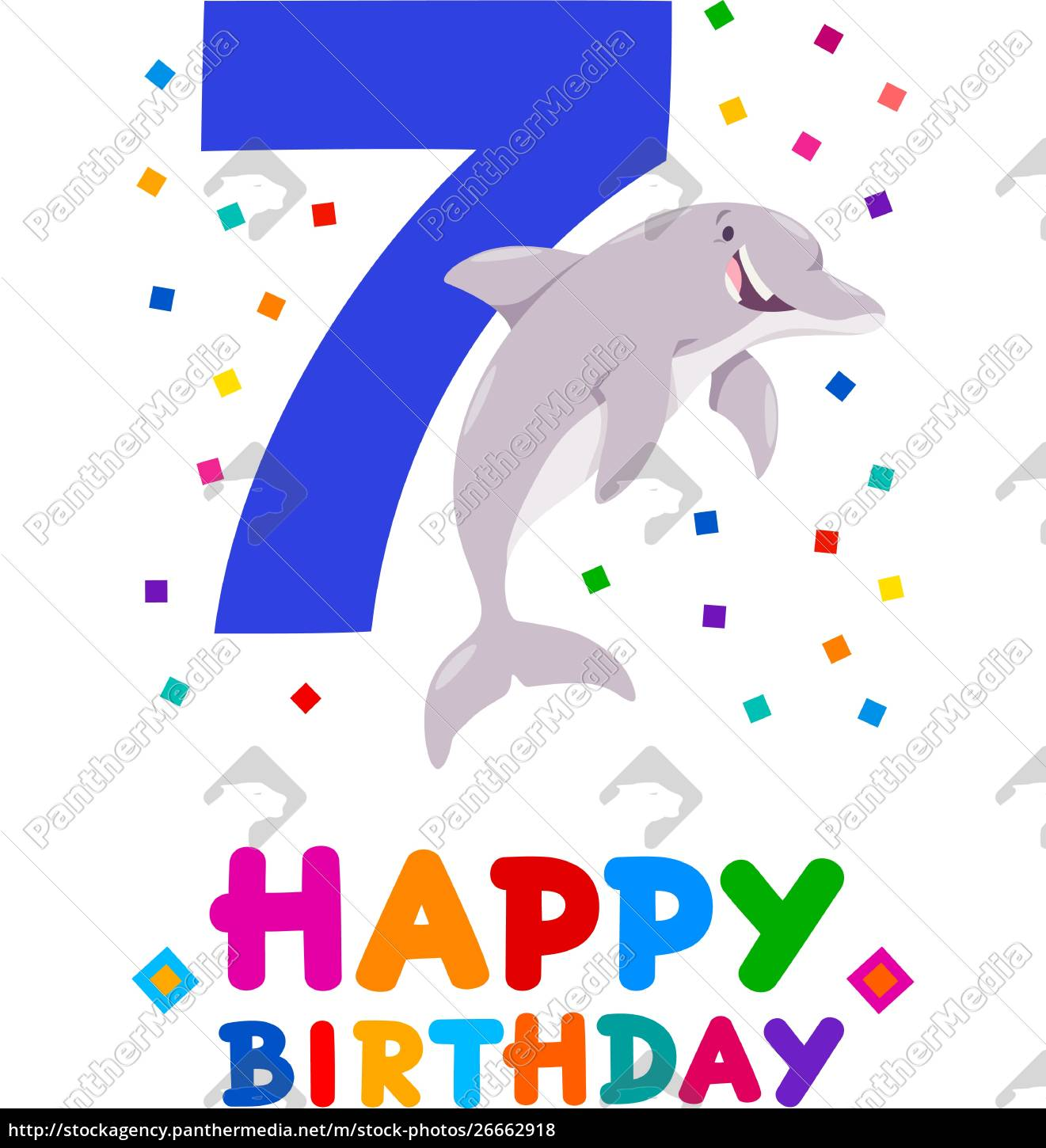 Seventh Birthday Cartoon Greeting Card Design