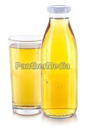 apfelsaft trinken frische glasflasche isoliert auf