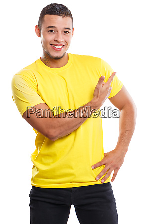 young man showing pointing marketing ad