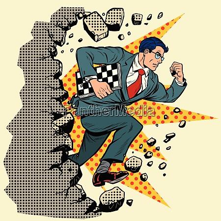 chess grandmaster breaks a wall destroys