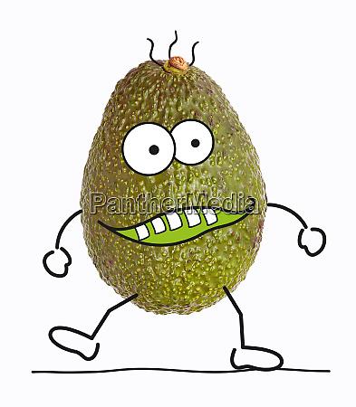 avocado mit zeichentrickfiguren