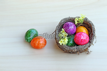 an easter nest with colourful easter