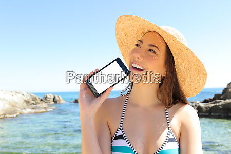 tourist thinking showing phone screen on