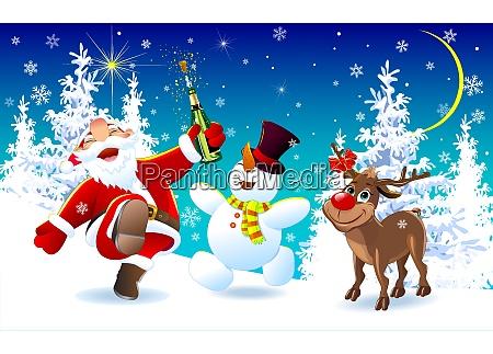 gluecklicher weihnachtsmann ein reh und ein