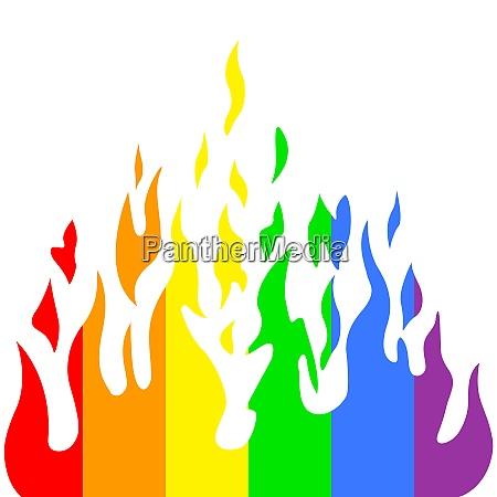 brennen sie flamme feuer regenbogenfarben vektorillustration