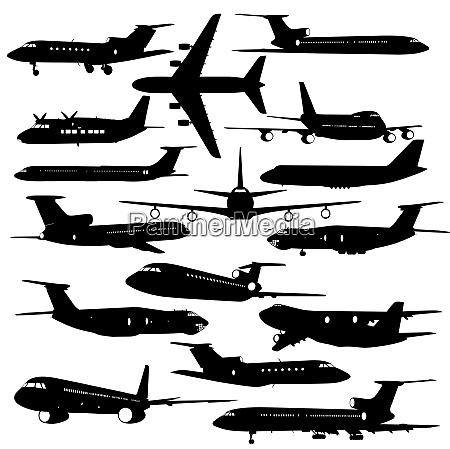 sammlung verschiedener flugzeugsilhouetten vektor illustration