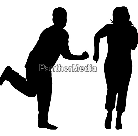 silhouetten tanzender maenner und frauen vektor