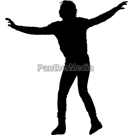 black silhouettes dancing on white background