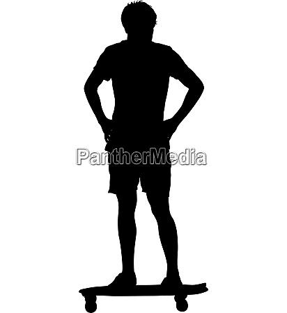 schwarze silhouetten mann auf einem skateboard
