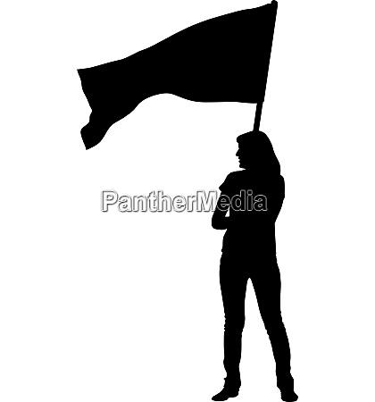 schwarze silhouetten der frau mit fahnen