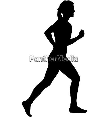 black silhouettes runners sprint women on