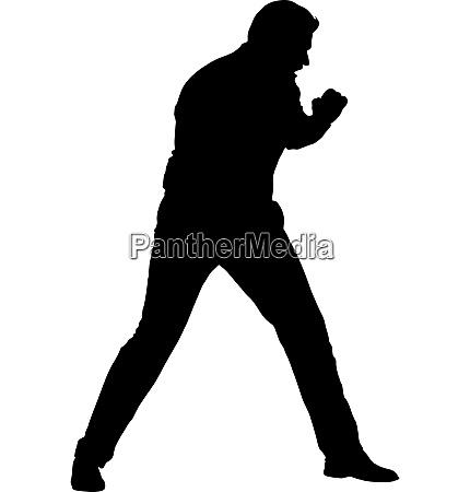 black silhouette of an athlete boxer