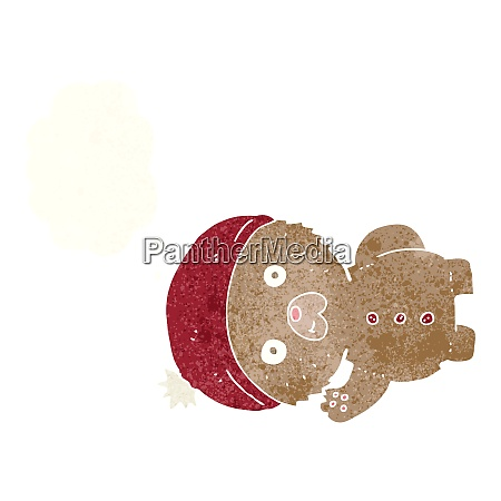 cartoon waving teddy bear in winter