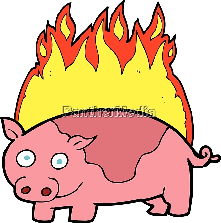 cartoon pig on fire cartoon