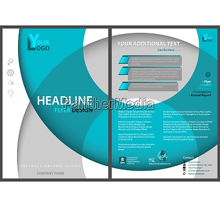 flyer template with circles and 3d