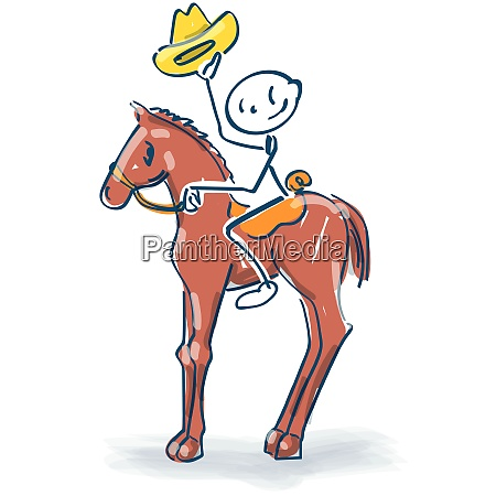 stick figure sits on the horse