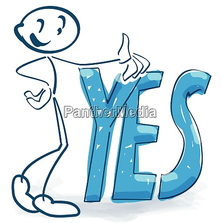 stick figure with a big yes