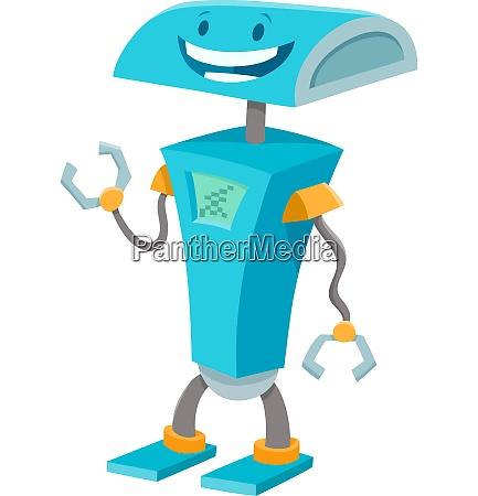 happy blue robot funny cartoon character