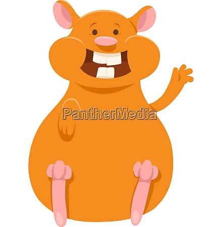 happy hamster cartoon animal character