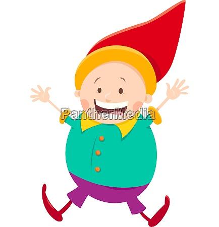 happy gnome or dwarf cartoon illustration