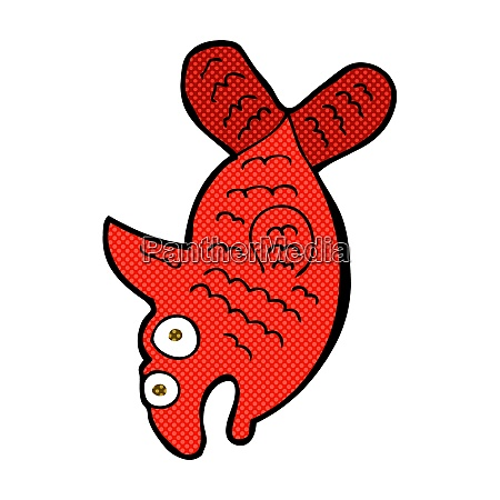 retro comic book style cartoon fish