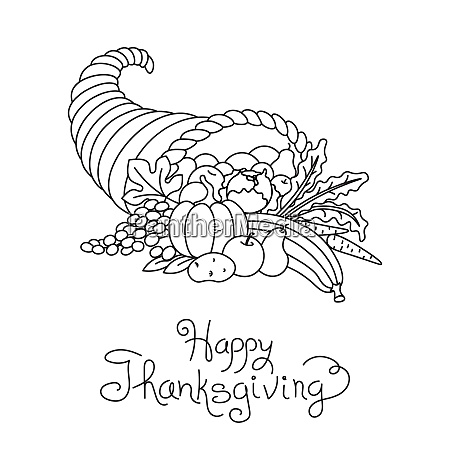 doodle thanksgiving cornucopia freehand vector drawing