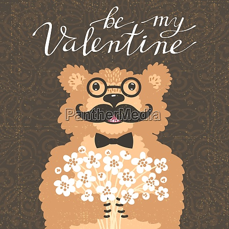be my valentine hipster bear with