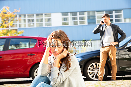 tense driver after traffic accident