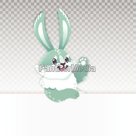 cute rabbit cartoon waving hand vector