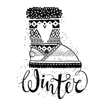 winter text brush lettering and boots