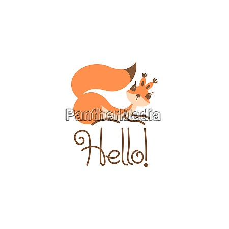 cartoon cute squirrel greeting little funny