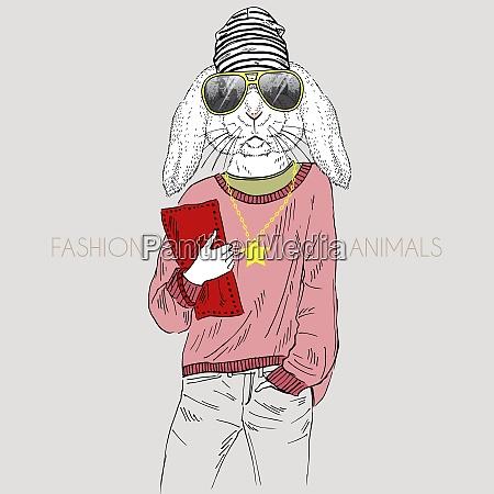 anthropomorphic design illustration of bunny girl
