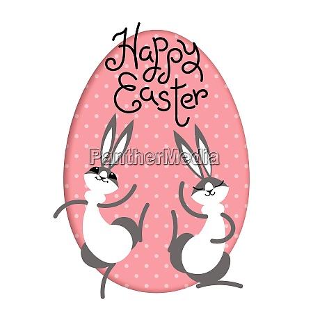 happy easter bunny rabbit hare inside