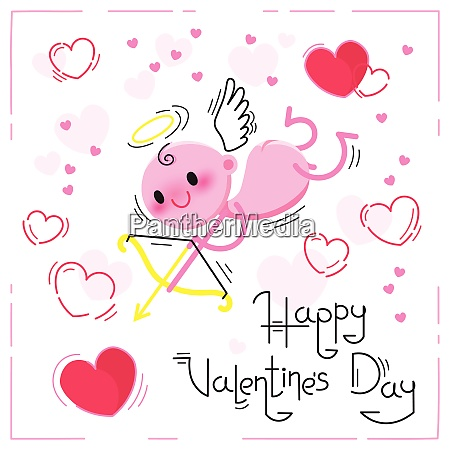 valentines day card with cute cupid